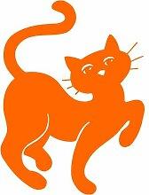 Katze Aufkleber 006, 30 cm, orange