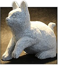 Katze aus Granit Gartendeko Skulptur Figur Garten