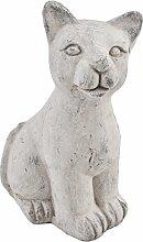 Katze Deko Objekt Steinguss grau Gartendeko Figur