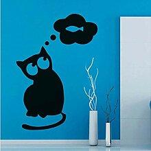 Katze Denken Über Fisch Wandaufkleber Abnehmbare