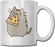 Katze essen Pizza Mode Kaffeetasse Porzellan Tassen