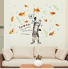 Katze Fangen Fisch Cartoon Aufkleber Vinyl