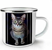 Katze Foto Niedlich Tier Weiß Emaille-Becher 10 oz | Wellcoda