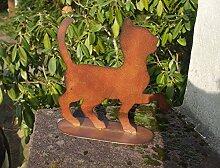 Katze, Gartendeko, Katzenfigur, a. Fuß, Eisen, Rost, 34 cm