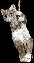 Katze Gartenfigur am Seil | Lustige Deko Figur