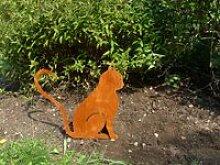 Katze Herz - ganzjährige Rostdeko
