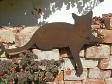 Katze in Edelrost für Kanten liegend 45cm SAKaL1