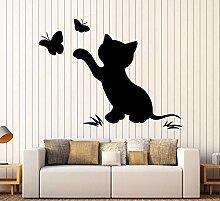 Katze KäTzchen Schmetterling Silhouette Kunst