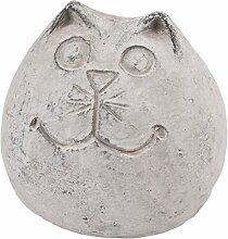 Katze Kugel Deko Objekt Steinguss grau Gartendeko Figur (9x10x10cm)