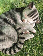 Katze liegend groß Dekofigur Gartendeko grau-weiß