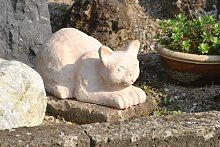Katze,liegend,Terracotta,frostfest,hübsche Gartendeko