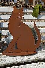 Katze Lotta sitzend auf Bodenplatte Gartendeko Haustiere Figur Metall Ros