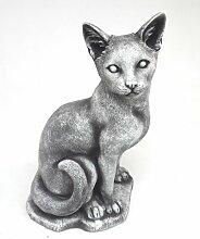 Katze sitzend aus Beton I Platina Veredelung I 42 x 20 cm groß I Gartendeko I Balkondeko I Terassendeko