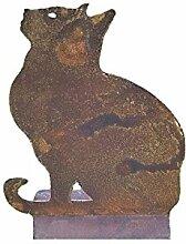 Katze, Standdeko; 36 cm hoch; Metall, Rost;