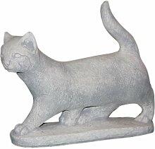 Katze, stehend, Tierfigur aus Steinguss, Frostfes