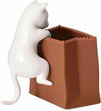 Katze und Tüte Büroklammerhalter in weiß -