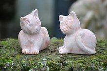 Katzen,2er Set,Terracotta,frostfest,ca.14cm