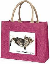 Katzen in der Hängematte, Geschenk zum Ruhestand Große rosa Jute Einkaufs-Tasche als Geschenk
