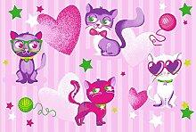 Katzen Kinderteppich 80 x 120 cm Spielteppich Teppich