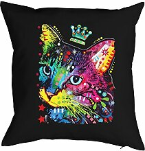 Katzen Kissen mit Innenkissen - bunte Katzenkönigin Hauskatze Katze lustig buntes Portrait Neon Farben Pop Art Motiv Cat Crowned - Motiv Kissen Deko 40x40cm schwarz : )