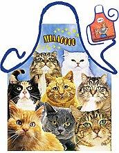 Katzen-Themen-Schürze/Spaß-Grill/Kochschürze Rubrik Tiere: Cats - Geschenk-Set inkl. Mini-Schürze