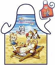Katzen-Themen-Schürze/Spaß-Grill/Kochschürze Rubrik Tiere: Kätzchen - Geschenk-Set inkl. Mini-Schürze