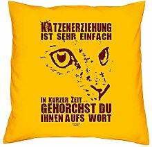 Katzenerziehung :: Kissen mit Füllung 40x40 cm Tolle Geschenkidee Geschenk für Sie und Ihn für Katzenliebhaber Farbe: gelb