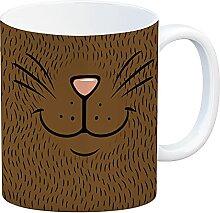 Katzengesicht Kaffeebecher mit süßem Lächeln