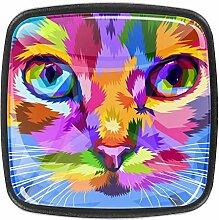 Katzengesicht nah an bunten Augen, quadratische
