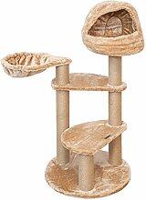 Katzenkratzbaum BORIS von VOSS.PET 104 cm hellbraun mit kuscheliger Schlafhöhle und schwenkbarer Hängematte