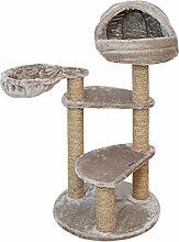 Katzenkratzbaum BORIS von VOSS.PET 104 cm taupe mit kuscheliger Schlafhöhle und schwenkbarer Hängematte