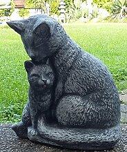 Katzenmama mit Baby ca. 7200 gr. schwer Figur massiver Steinguss