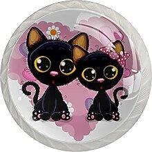 Katzenpaar Küchenknopf Klarglasschrank