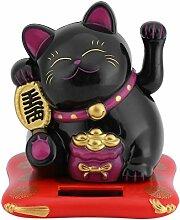Katzenspielzeug Solar Viel Glück Einladende Katzen Spiele Dekoration Haus Büro Auto Geschenk Kinder Weihnachten Geburtstag 7,6* 7* 6,5 schwarz