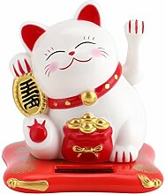 Katzenspielzeug Solar Viel Glück Einladende Katzen Spiele Dekoration Haus Büro Auto Geschenk Kinder Weihnachten Geburtstag 7,6* 7* 6,5 weiß