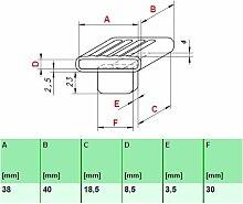 Kautschukkappen in grau mit befestigungs Lasche 10er Paket (38x40x8,5 Breite x Tiefe x Höhe (Einzelkappe))