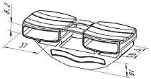 Kautschukkappen in grau mit befestigungs Lasche 10er Paket (37x30x8,2 mm Breite x Tiefe x Höhe (Duo-Kappe))