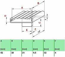 Kautschukkappen in grau mit befestigungs Lasche 10er Paket (52x30x9,5 Breite x Tiefe x Höhe (Einzelkappe))