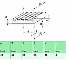 Kautschukkappen in grau mit befestigungs Lasche 10er Paket (50x34x8,5 mm Breite x Tiefe x Höhe (Einzelkappe))