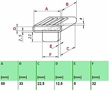 Kautschukkappen in grau mit befestigungs Lasche 10er Paket (55x33x12,5 mm Breite x Tiefe x Höhe (Einzelkappe))