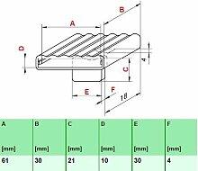 Kautschukkappen in grau mit befestigungs Lasche 10er Paket (61x30x10 mm Breite x Tiefe x Höhe (Einzelkappe))