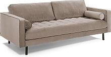 Kave Home - Debra 3-Sitzer Sofa taupe Samt 222 cm