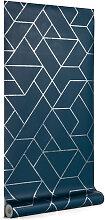 Kave Home - Gea 10 x 0,53 m Tapete, blau und silber