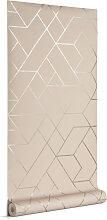 Kave Home - Gea 10 x 0,53 m Tapete, grau und silber