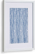 Kave Home - Kuma Bild mit blauen Streifen 30 x 40