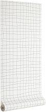 Kave Home - Saori Tapete, grauer Gitter, 10 x 0,53