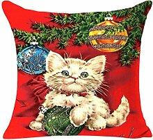 Kavitoz Baumwolle Leinen 45x45 cm Kissenhülle Weihnachten Sofa Bett Home Decor Fall Kissen Kissenbezug (C)