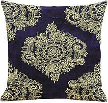 Kavitoz Glückliche Bunte Gedruckt Muster Kissenbezug Sofa Haus Decor Atmungsaktiv Kissenhülle 45x45 cm (D)