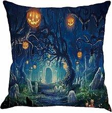 Kavitoz Kissenbezug Leinen Halloween Sofa Home Dekoration Kissen Fall 45 x 45 cm (N)
