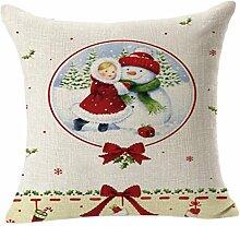 Kavitoz Weich Kissenbezüge Weihnachten Sofa Bett Home Decor Baumwolle Leinen Kissenhülle 45 x 45 cm (C)